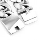 Тяжеловесный браслет - цепочка из матовых и отполированных сегментов шириной 32 мм