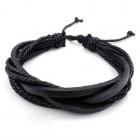 Черный браслет из кожи с веревками