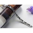 Мужской браслет в офис или на работу из стали и черного каучука