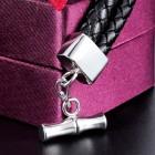 Мужской классический браслет из плетеной кожи черного или коричневого цвета