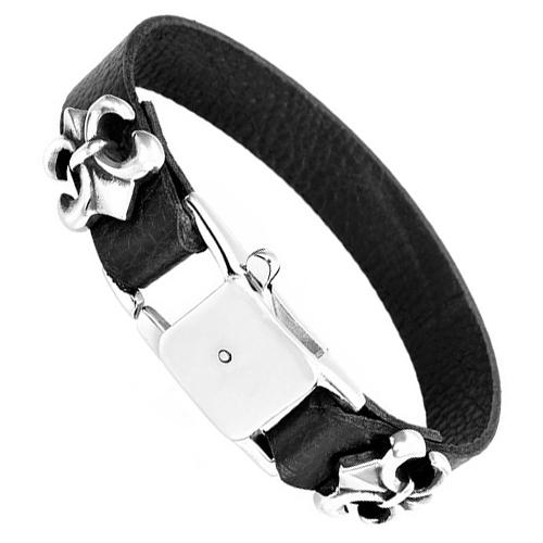 Мужской кожаный браслет с двумя лилиями и стальным замком