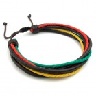 Браслет из шести цветных жгутов на сдвижном замке-веревке