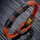 Стильный браслет из круглых двух жгутов кожи на накидной застежке