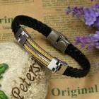 Браслет плетеный кожаный с вставками из стальных тросов