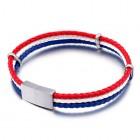 Браслет кожаный - три жгута в цвет флага Франции