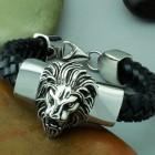 Браслет на кожаном ремешке стальная голова льва