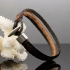 Тройной браслет из кожаных жгутов
