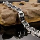 Браслет из стали и вставками из гематита
