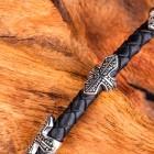 Браслет из натуральной кожи - черный плетеный жгут и на нем пять втулок-крестов