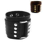 Широкий кожаный браслет мягкий на руку - черный или коричневый
