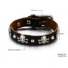 Кожаный браслет с классической застежкой и черепами по периметру