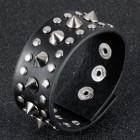 Коричневый кожаный браслет с двумя рядами заклепок