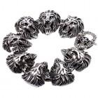 Браслет из стали в виде восьми голов льва с открытыми пастями