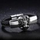 Элегантный черный браслет со стальной плашкой с головой льва