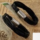 Черный кожаный браслет на магнитном замке на руку для мужчин