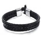Стильный кожаный браслет из кожаный плетеных жгутов