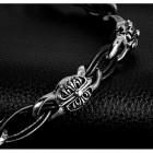 Браслет из кожаных въющихся жгутиков и стальными крупными элементами