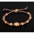 Браслет желтый-коричневый из глиняных втулок