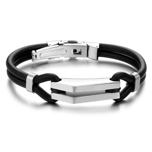Браслет из каучука черные жгуты со стальной плашкой-утюжком