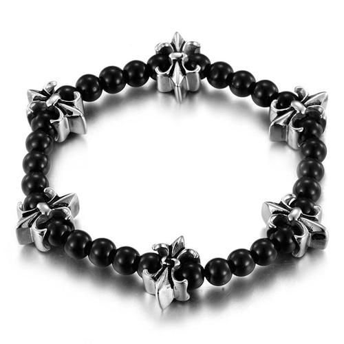 Браслет casual стиля в виде черных шариков из черного стекла и шести стальных цветков