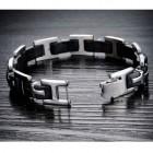 Мужской браслет с крестами и черным каучуком длиной 20 см в окружности