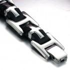Браслет из черного силикона и ювелирной стали 316L с крестами и плашкой для гравировки