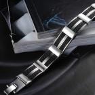 Браслет длиной 21 см из стали в виде стальных скобок и каучука с греческой змейкой