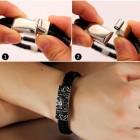 Стильный браслет из кожи и стали мужской на руку