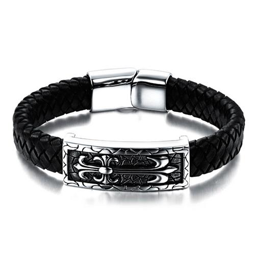 Стильный кожаный браслет с стальным крестом