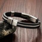 Браслет из каучука, стального троса и греческой змейки