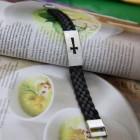 """Браслет плетеный """"Крест"""" с пластиной в виде креста"""