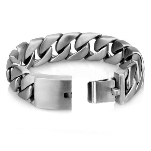 Браслет шириной 2 см стальной матовый цепочка