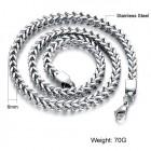 Цепочка стальная мужская плетение колос длиной 56 см в сечении квадрат