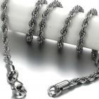 Стильная цепочка для мужчин из ювелирной стали, имитирующая толстую веревку. Длина 50 см, диаметр 4 мм