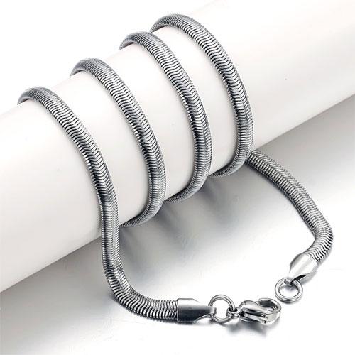 Цепочка из стали длиной 53 см в виде чешуи змеи и толщиной 4 мм