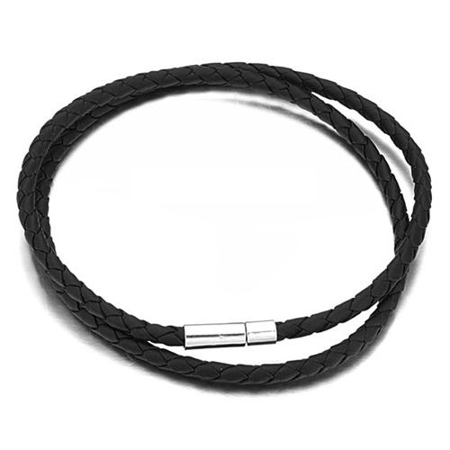 Черный чокер из плетеной кожи длиной 50 см
