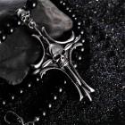 Подвеска Крест из черных шаров и ювелирной стали