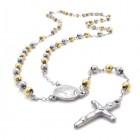 Подвеска в виде креста и стальных и золотых бусин