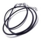 Шнурок 52 см на шею из черного каучука толщиной 1,5-2 мм