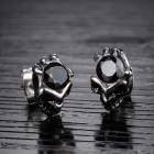 Стильные мужские серьги с черепом и черным кристаллом