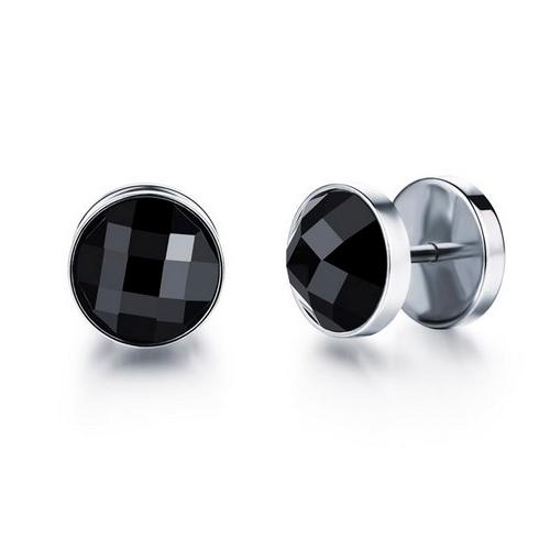 Стильные серьги черные на резьбе в ухо - 890 руб. за 2 шт.