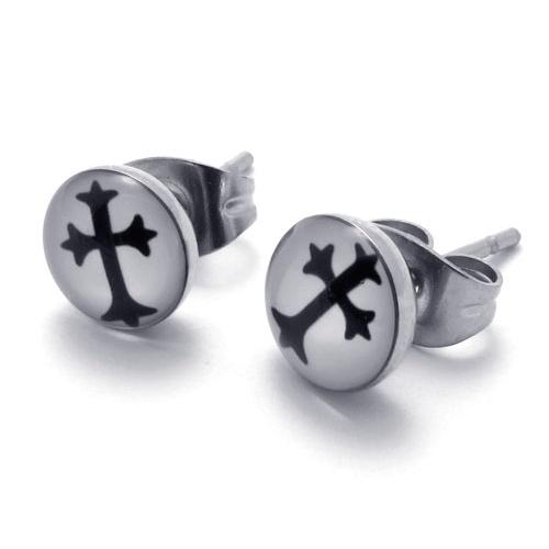 Мужские серьги из стали с тевтонским крестом