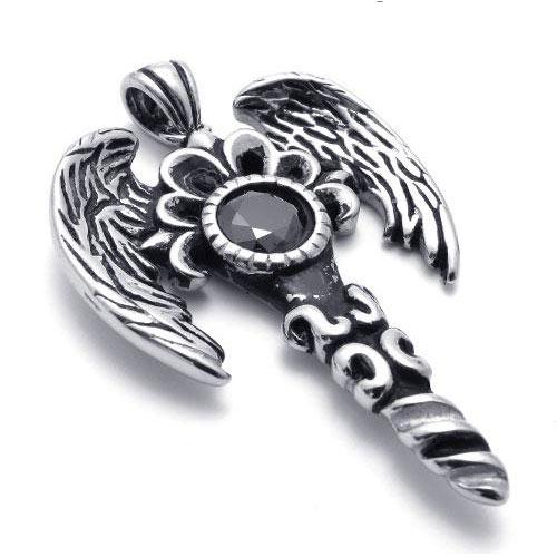 """Кулон """"Black Wings"""" из хирургической стали и циркона"""