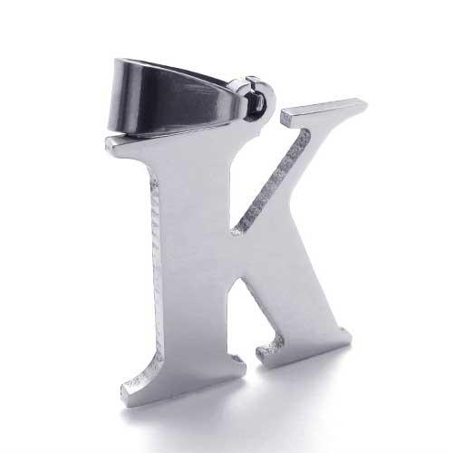 Буква К из стали - плоский кулон на шею с цепочкой