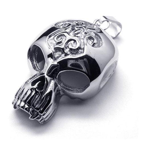 Стильный кулон из стали в виде черепа инопланетного существа