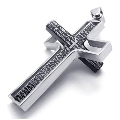 Кулон в виде черного креста с надписями в вращающейся рамке