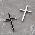 Полированный крест из стали с вставкой из черной или белой эмали