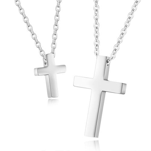 Кулон в виде креста из стали и цепочкой длиной 41 см-50