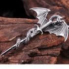 Мужской кулон в виде дракона на мече
