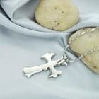 Кулон крест мужской в плавных кривых линиях из стали